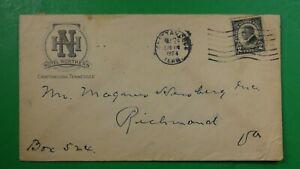 Hotel Northern Chattanooga,TN to Richmond VA ad cover 1924 2c Harding    HR