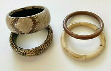 Bracelets Lot of 4 Bangles Wooden Snakeskin Animal Print Brown Beige Taupe Tan