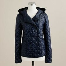 J.CREW QUILTED DOUBLE BREASTED PUFFER DOWN JACKET HOODED DARK NAVY S 34250