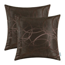 2Pcs Coffee Cushion Covers Pillows Case Modern Circles Rings Geometric 20 Inches