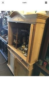 Antique 19th Century Danish Double Door Pine Armoire, Stripped Clean Nice For TV