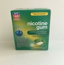 Nicotine Gum 2mg Cool Mint Flavor 100 Coated Pieces Stop Smoking Aid Exp: 4/2021