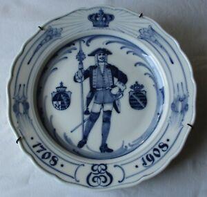seltener Porzellan Teller Meissen Regimentsteller Sachsen 1708-1908 (129260)