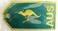 13212 AUSTRALIA KANGAROO GOLD & GREEN AVIATION TRAVEL FABRIC LUGGAGE BAG TAG