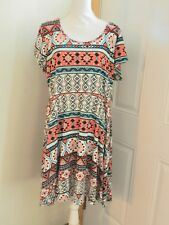 NEW WITH TAGS Women Plus Size .3X Short  Sleeve Dress Multicolor Comfy & Cute