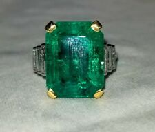 Vintage cartier  platinum  ring 9.75ct. Natural  colombia emerald AGL cert.
