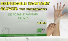 100 PCS Plastic Clear Disposable Gloves Food Cleaning Industrial Kitchen