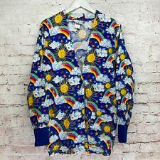 New listing Peaches Size Medium Rainbow Happy Sun Stars Long Sleeve Scrub Jacket