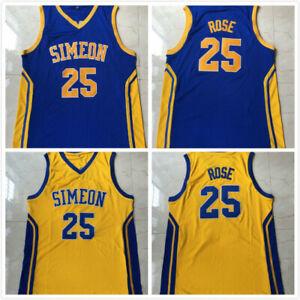 Derrick Rose #25 Simeon High School Basketball Jersey Blue Yellow All Stitched