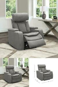 Power Recliner Chair Fabric Sofa Armchair USB Cup Holder Home Theater Seating