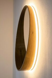 round wall mirror natural wood veneer teak diameter 23,5 backlit mirror