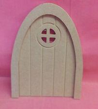 5x4 mm MDF Scanalato finestra rotonda Porta di Fata 130mm Craft in bianco