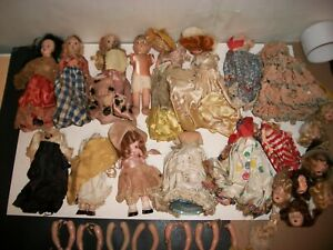 Antique Vintage Broken Doll Lot For Parts or Repair 14 dolls