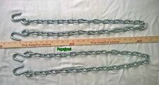 "2 Trailer Safety Chain 1/4"" 48"" Long with 7/16"" S-hooks 5,000 lb Zinc Finish"