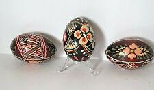 Vtg Polish Wood Hand Painted Decorative Eggs - Lot of 3