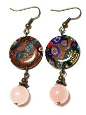 Rose Quartz Earrings Antique Bronze Style Pierced Hooks Drop Dangle Boho Hippy