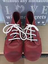 Women's Girls Kickers Red Boots Leather Size 3 36 VGC