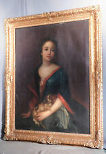 Antique 1700s Oil Painting Portrait Lady King Charles Spaniel Dog School of LELY