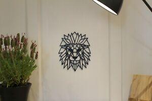 Geometric Lion - Wall Art Decoration Hanging Colour Black/White
