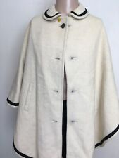 WOMENS COLLARED WOOL PONCHO Cape Ivory BLACK TRIM Nylon Lining METAL BUTTON OSFA