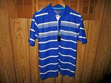 New Pebble Beach Performance Golf Polo Shirt Size Men's Small Blue Stripe