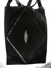 (EL1-1) black Stingray Leather diamond design Parni Handbag SKIN Hide PURSE