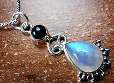 Black Onyx Moonstone Pendant 925 Sterling Silver with Beautiful Blue Iridescence