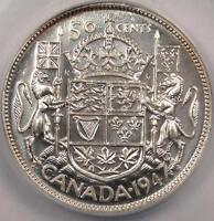1947 Canada 50 Cents (50C) Straight 7 - ANACS MS63 - Rare Uncirculated Coin!