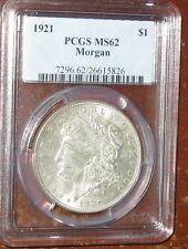 Coinhunters-1921 Morgan Silver Dollar PCGS  MS62 + GEM Uncirculated  SCARCE #394