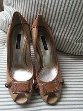 Dolce & Gabbana brown leather peep-toe pumps shoes Size 36 UK 3 US 6