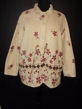 Womens plus 26W 3X fleece light button up jacket Classic Elements tan burgundy