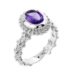 .925 Sterling Silver Amethyst February  Birthstone Ladies Ring.