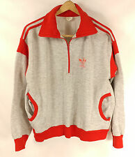 "Vtg 80's Adidas 1/4 Zip Sweatshirt RARE Pockets Chest 23"" XL Large Red Gray"