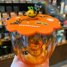 Starbucks Mug Set Pumpkin Cat Paw Glass Cup with Cover Lid Halloween Gifts