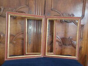 3 Cadres Anciens, Dorure Feuille, Vintage, 41x33 6F pr Tableau, dessin, gravure
