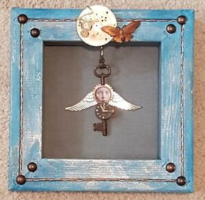 MIXED MEDIA ANGEL ART SKELETON KEY STEAMPUNK ACCENTS CUSTOM MADE ALTERED ART