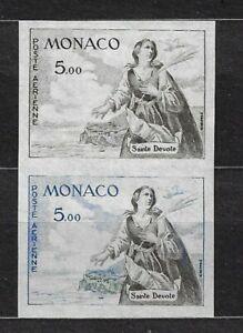 MONACO C60 COLOR PROOF PAIR WITH GLUE WITH PALAIS DE MONACO STAMP IN BACK