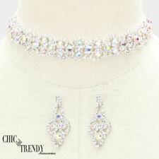 "AURORA BOREALIS CRYSTAL ""CHOKER"" FORMAL PROM NECKLACE FASHION JEWELRY SET TRENDY"