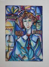 """Jose M. Mijares RARE Original Watercolor, """"Mujer En Vidrio De Colores"""" 21x17"""