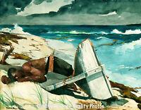 "77-5/""x7/"" CANVAS GICLEE ART PRINT SEASCAPE Hurricane Wave Irene Bahamas Storm"