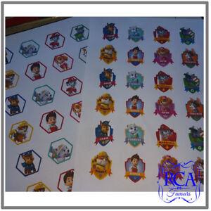 48 x Square Matt Stickers Variety Pack Paw Patrol Designs (40mm x 40mm)