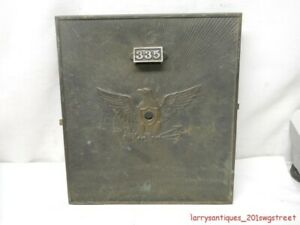 """~RARE~ EARLY  #335 LARGE BRASS """"EAGLE FRONT"""" POST OFFICE BOX DOOR """"Y&T"""" (NR)"""