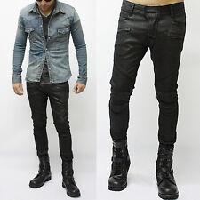 NewStylish mens bottom fashion Wax Coated Tough-Chic Black Biker Jean