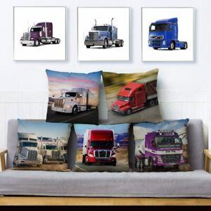 Heavy Big Truck Autotruck Print Square Cushion Covers Sofa Home Decor Pillows