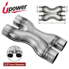 """Dual 2.5"""" X Pipe Universal Stainless Steel Stamped Exhaust Pipe Reduce Drone"""