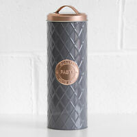 Grey & Copper Geometric Pasta Jar Spaghetti Canister Container Kitchen Storage