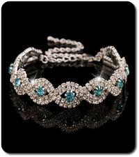 Armband Kette Kristall Strass Versilbert Armeife Hochzeit Braut Silber/Blau