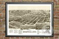 Old Map of Norlfolk, NE from 1889 - Vintage Nebraska Art, Historic Decor