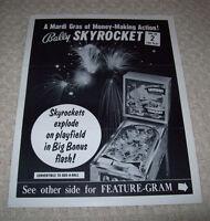 Bally SKYROCKET 1971 Original Flipper Game Pinball Machine Promo Sales Flyer