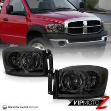 2006-2008 Dodge Ram 1500 2500 3500 Smoke Front Bumper Headlights Headlamps PAIR